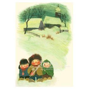 Pohlednice - Děti ve sněhu - Jiří Trnka