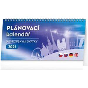 Stolní kalendář s evropskými svátky 2021, 25 × 12,5 cm